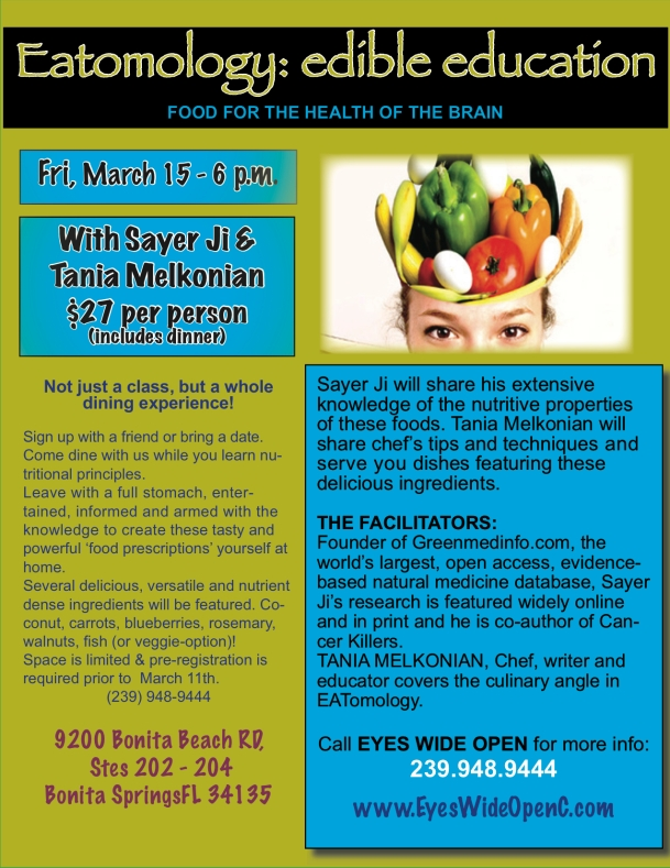 Edible Education Experience: BRAIN FOOD!! Friday, March 15